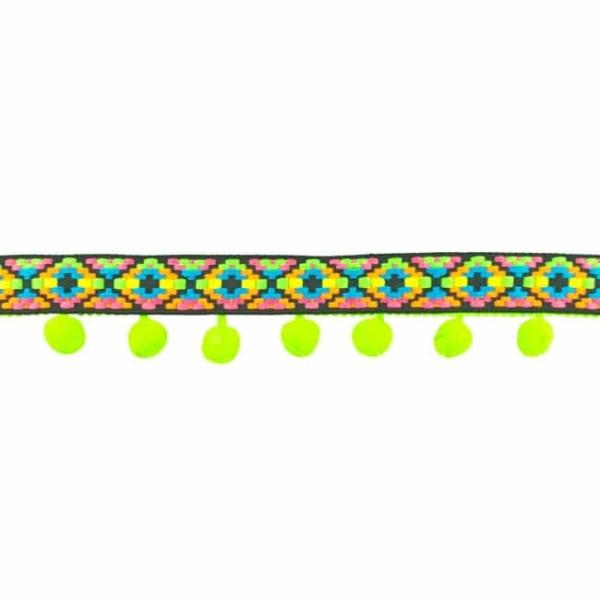Bommelborte Bunt Neon Grün