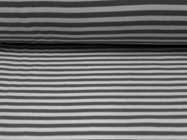 Bündchen Stoff  Grau- Weiss Streifen
