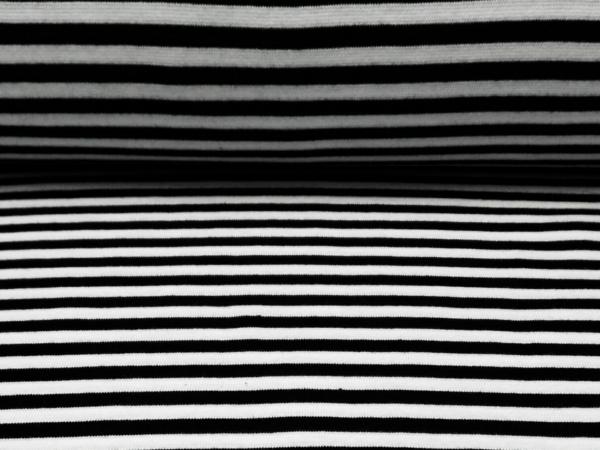 Bündchen Stoff  Schwarz - Weiss Streifen