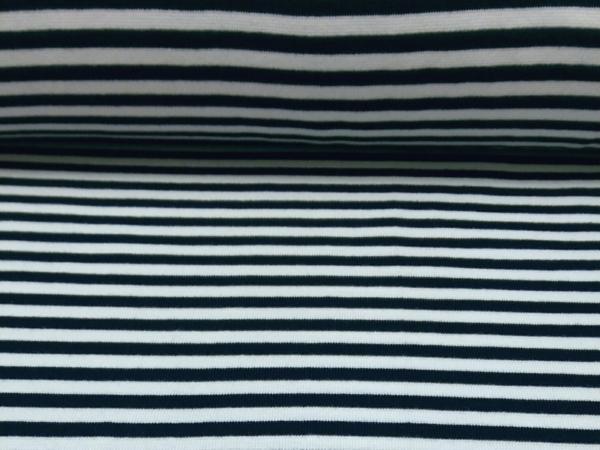 Bündchen Stoff  Navy - Weiss Streifen