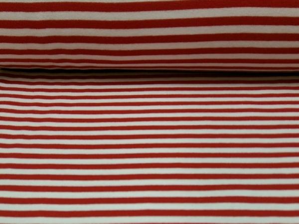Bündchen Stoff  Rot - Weiss Streifen