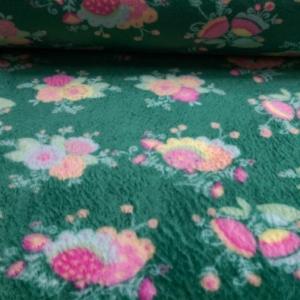 Wellness Fleece Dunkelgrün mit Blumen