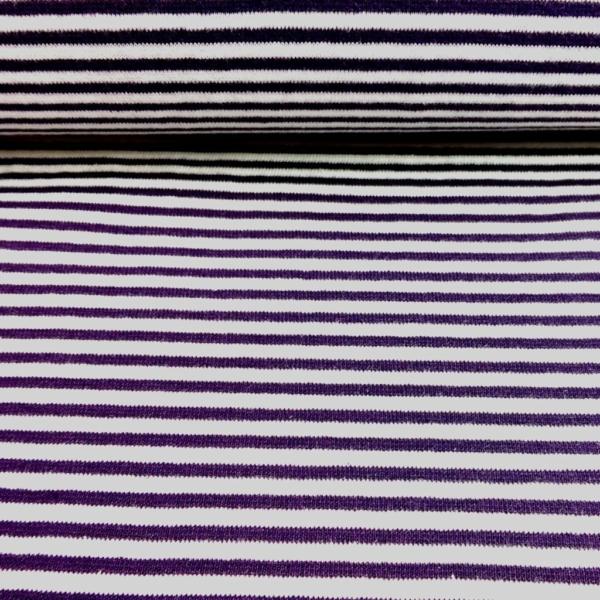 Bündchen Stoff  Lila - Weiss 0,4 cm Streifen