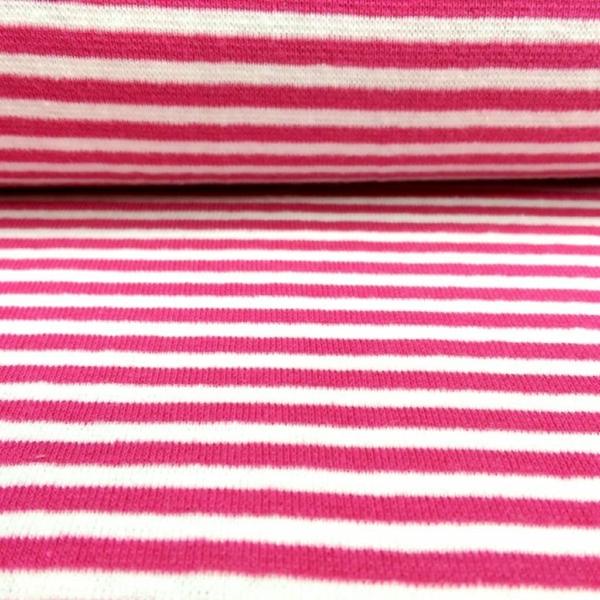 Bündchen Stoff  Pink - Weiss 0,4 cm Streifen