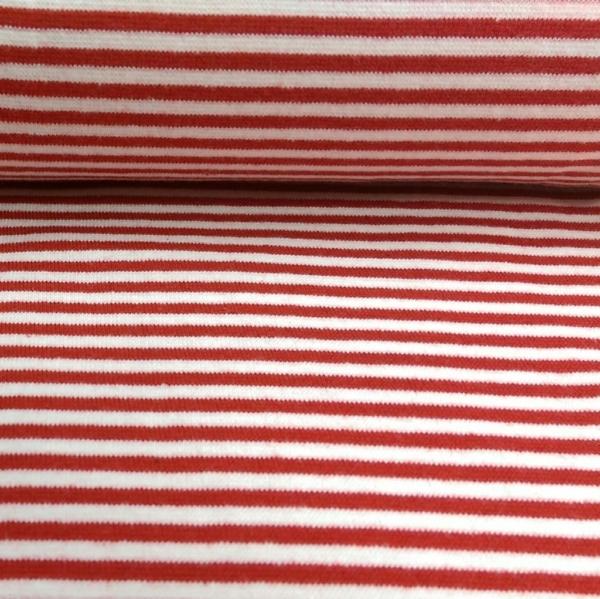 Bündchen Stoff  Rot - Weiss 0,4 cm Streifen