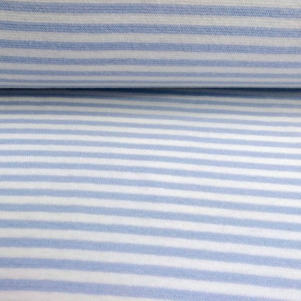 Bündchen Stoff  Hellblau - Weiss 0,4 cm Streifen