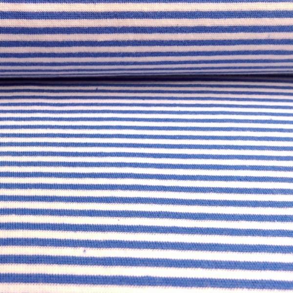 Bündchen Stoff  Blau - Weiss 0,4 cm Streifen