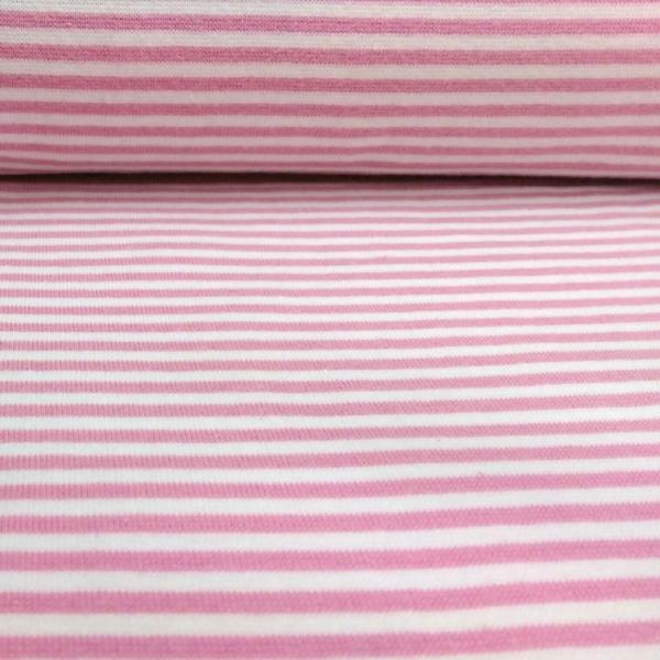 Bündchen Stoff  Rosa - Weiss 0,4 cm Streifen