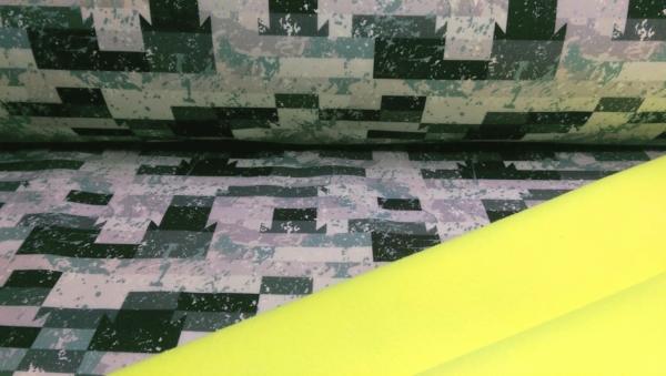 Softshell Stoff Neon gelb mit Karo Muster