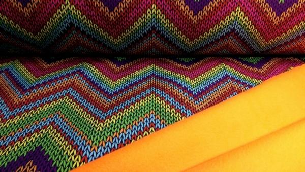 Softshell Stoff Neon Orange mit Zick Zack Muster