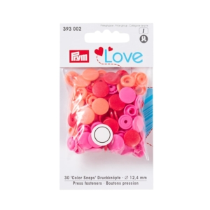 Druckknopf Color Snaps, Prym Love, 12,4mm, rot, Apricot, pink