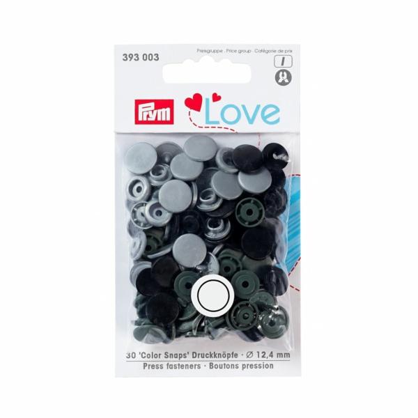 Druckknopf Color Snaps, Prym Love, Kunststoff, 12,4mm, grau