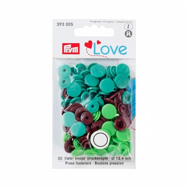 Druckknopf Color Snaps, Prym Love, 12,4mm, grün/hellgrün/braun