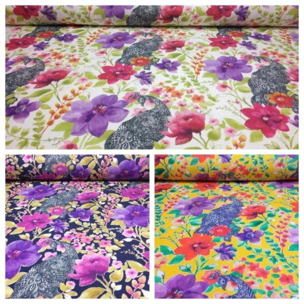 Baumwolle Popeline Stoff mit Pfau und Blumen