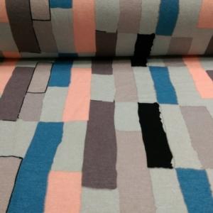 Viskose Jersey Stoff Grau mit bunten Streifen Muster