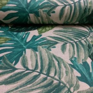 Beschichtetes Baumwoll Stoff mit großen Blättern