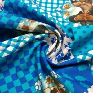 Baumwoll Stoff Blau Kariert mit Wölfen