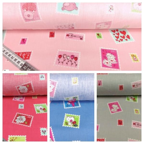 Baumwolle Kinderstoff mit Briefmarken