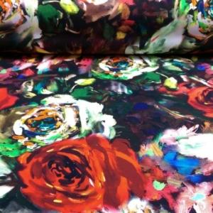 Baumwoll Jersey schwarz mit Rosen