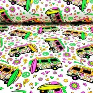 Baumwoll Jersey mit bunten Neon Omnibussen