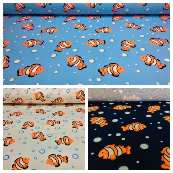 Baumwoll Jersey mit Neon Orangenen Nemo`s