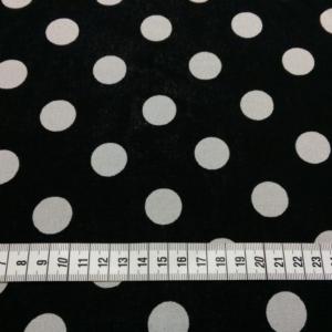 Viskose Stoff Schwarz mit 2 cm großen Punkten