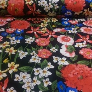 Viskose Stoff Schwarz mit bunten Blumen Muster