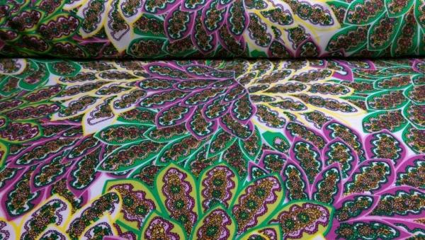 Viskose Stoff Rosa mit Orientalischen Muster