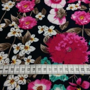 Viskose Stoff Navy mit bunten Blumen Muster