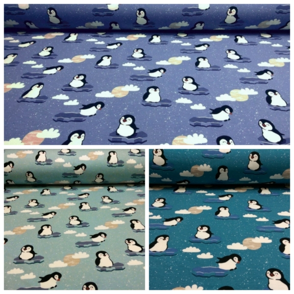 Baumwoll Jersey mit Pinguinen und Wolken