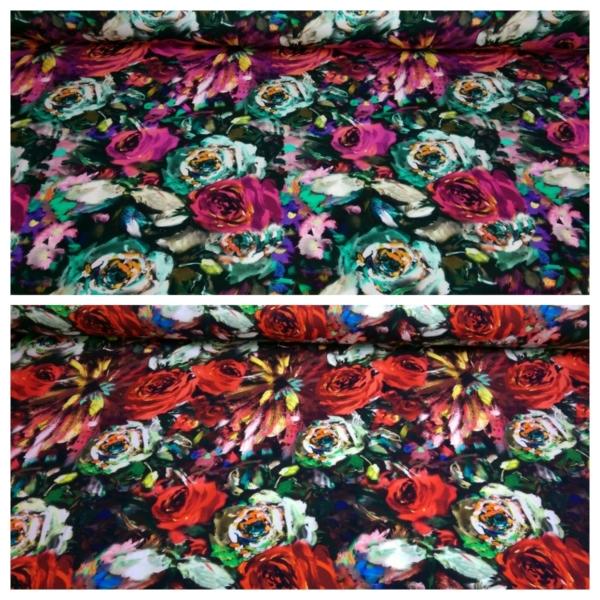 Baumwoll Jersey mit Blumen Muster