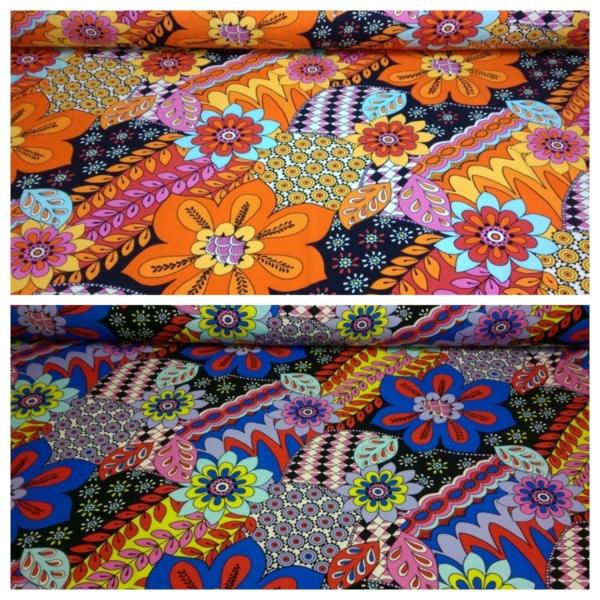 Baumwoll Jersey mit Blättern und Blumen