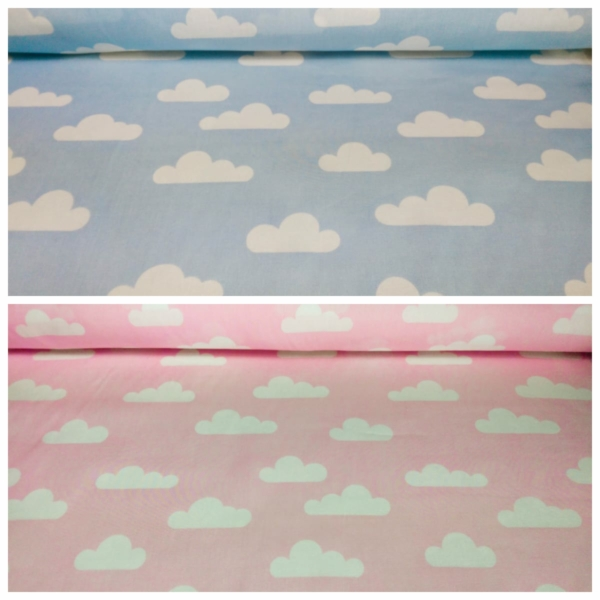 Baumwoll Stoff mit Wolken