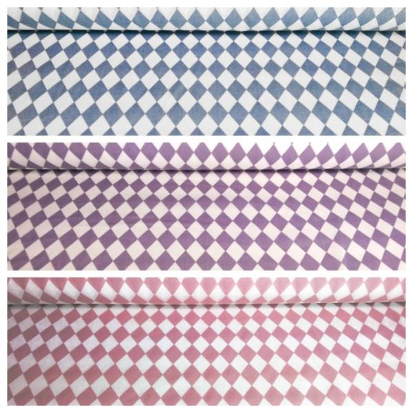 Baumwoll Stoff mit Rauten Muster