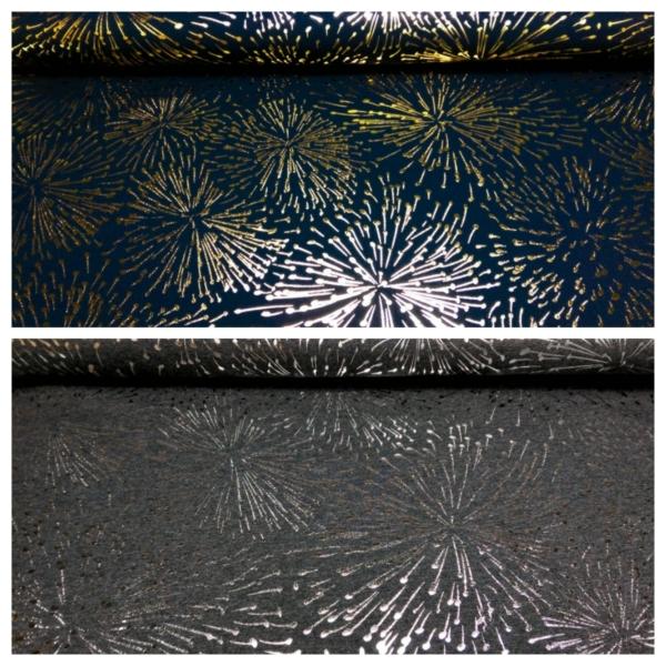 Baumwolle Jersey mit Metallic Feuerwerk Muster