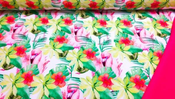 Softshell Stoff Hellrosa mit Blumen und Flamingo`s