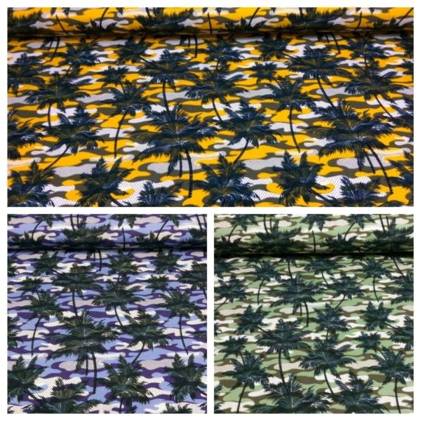 Baumwoll Jersey mit Tarn Muster und Palmen