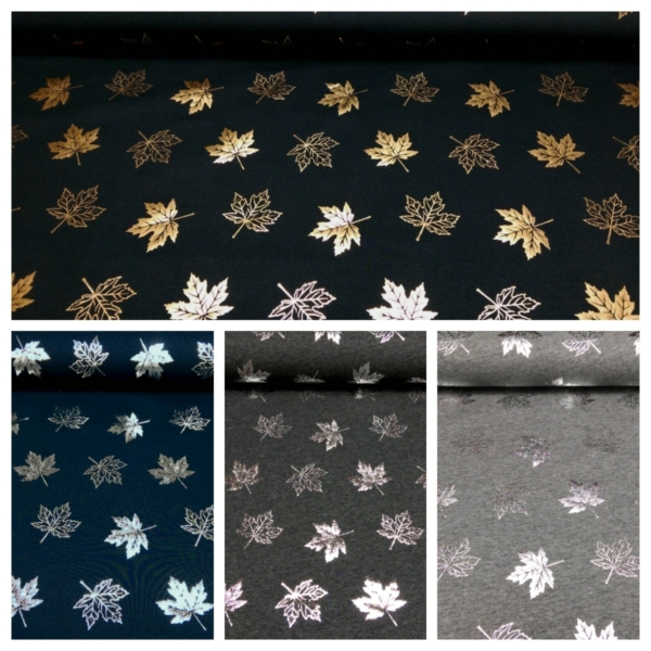 Baumwolle Jersey mit Metallic Ahorn Blättern