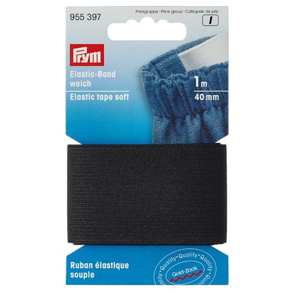 Prym  Elastic-Band, weich, 40mm, schwarz, 1m