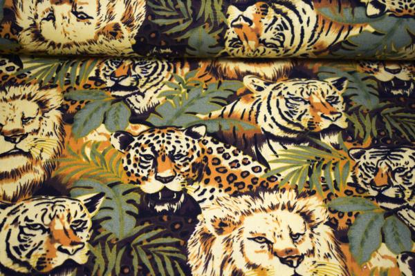 Dekostoff mit Tiger und Löwen