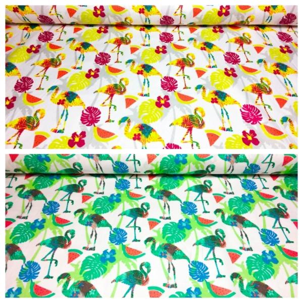 Baumwoll Stoff mit Palmen und Flamingos