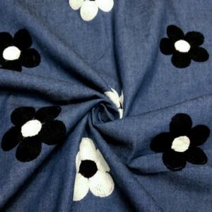 Jeans Stoff mit Bestickten Blumen