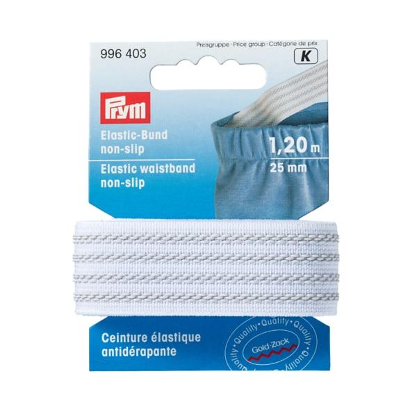 Prym  Elastic-Bund, non slip, 25mm, weiß, 1,2m
