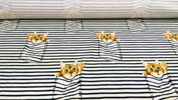 Sommersweat/French Terry mit Katzen