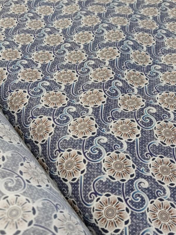 Baumwoll Hemden Stoff Blau mit Beige Blumen
