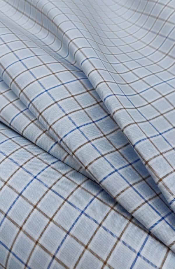 Baumwoll Hemd Stoff Hellblau mit Karo Muster
