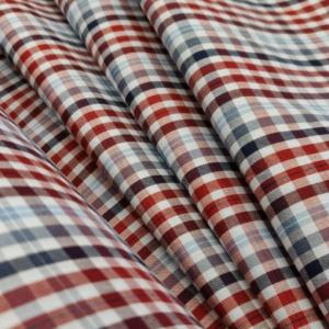 Baumwoll Hemd Stoff Rot mit Karo Muster