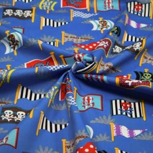 Baumwoll Stoff mit Piratenflaggen