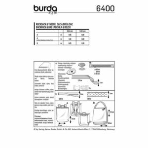 Burda Schnittmuster 6400 Rucksack und Tasche