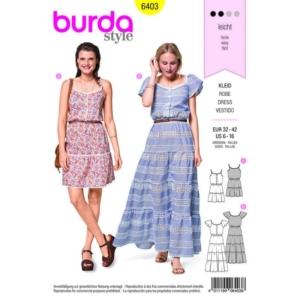 Burda Schnittmuster 6403 Damen Sommerkleider kurz und lang